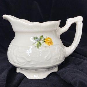 Vntg Floral Embossed Ceramic Yellow Rose Creamer